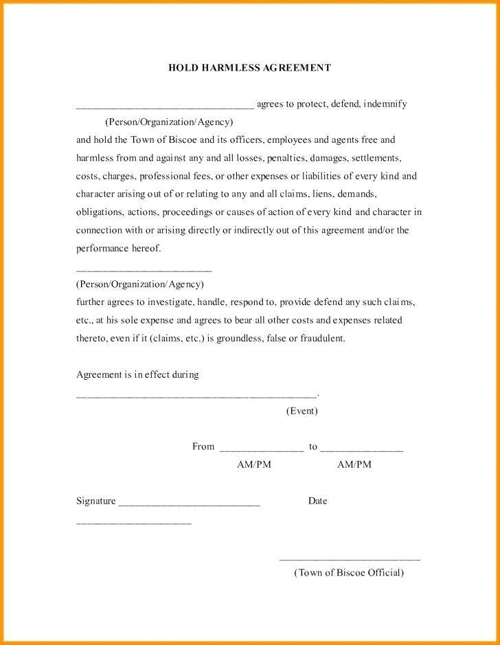 Subcontractor Hold Harmless Agreement Template