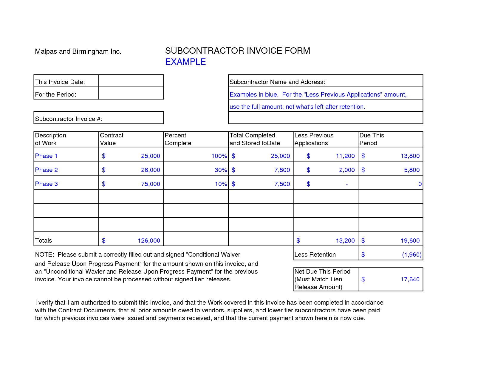 Subcontractor Invoice Template Free