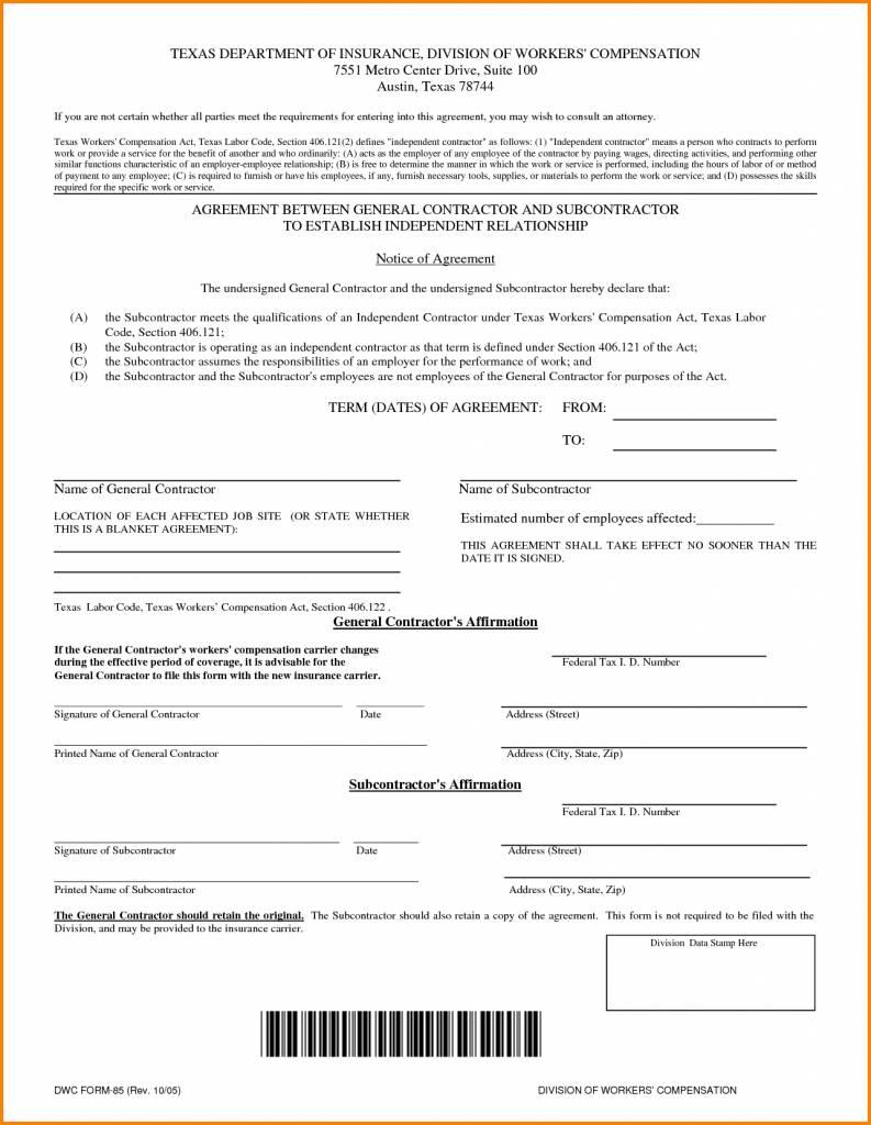 Subcontractors Contract Template Uk