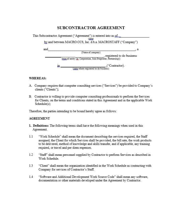 Subcontractors Contracts Templates