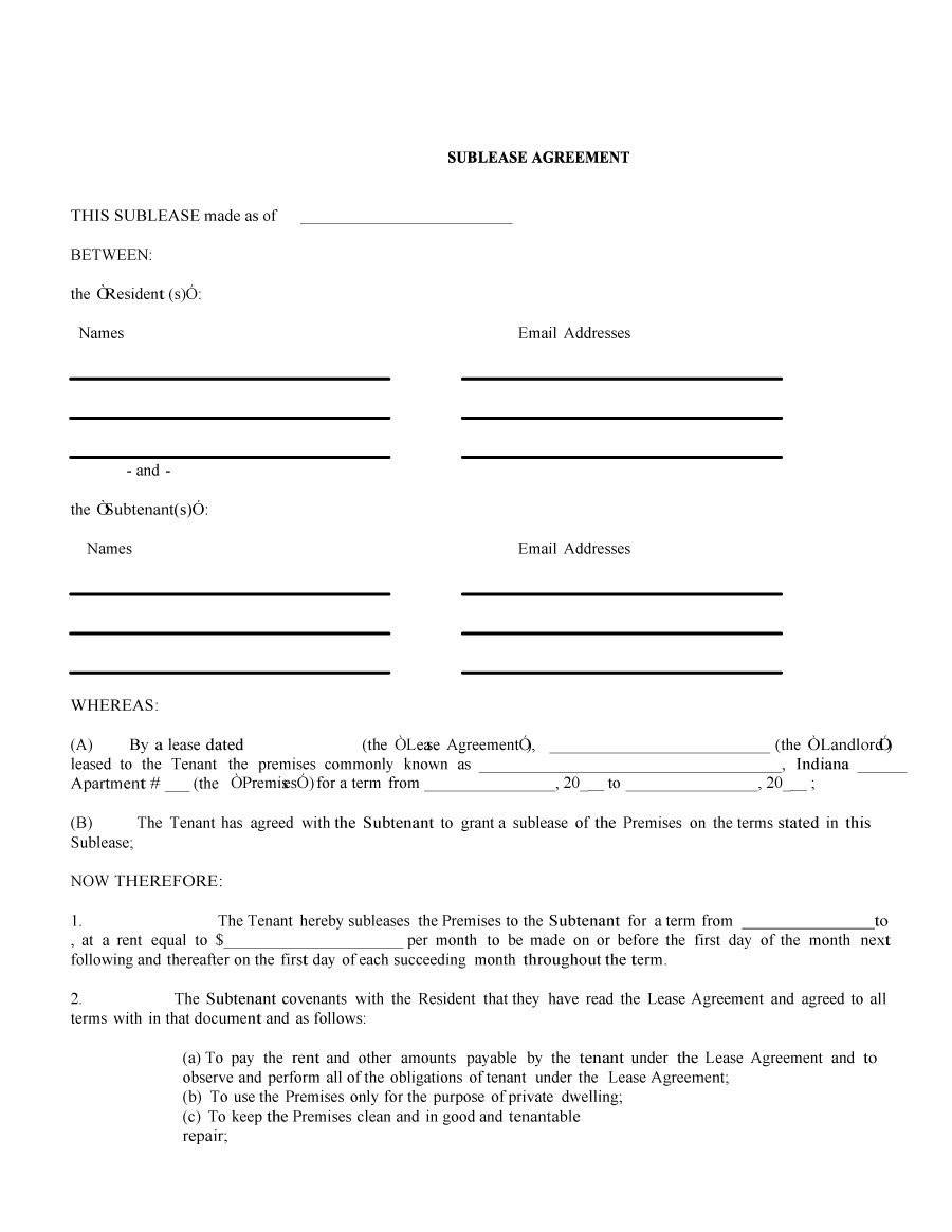 Sublease Agreement Templates