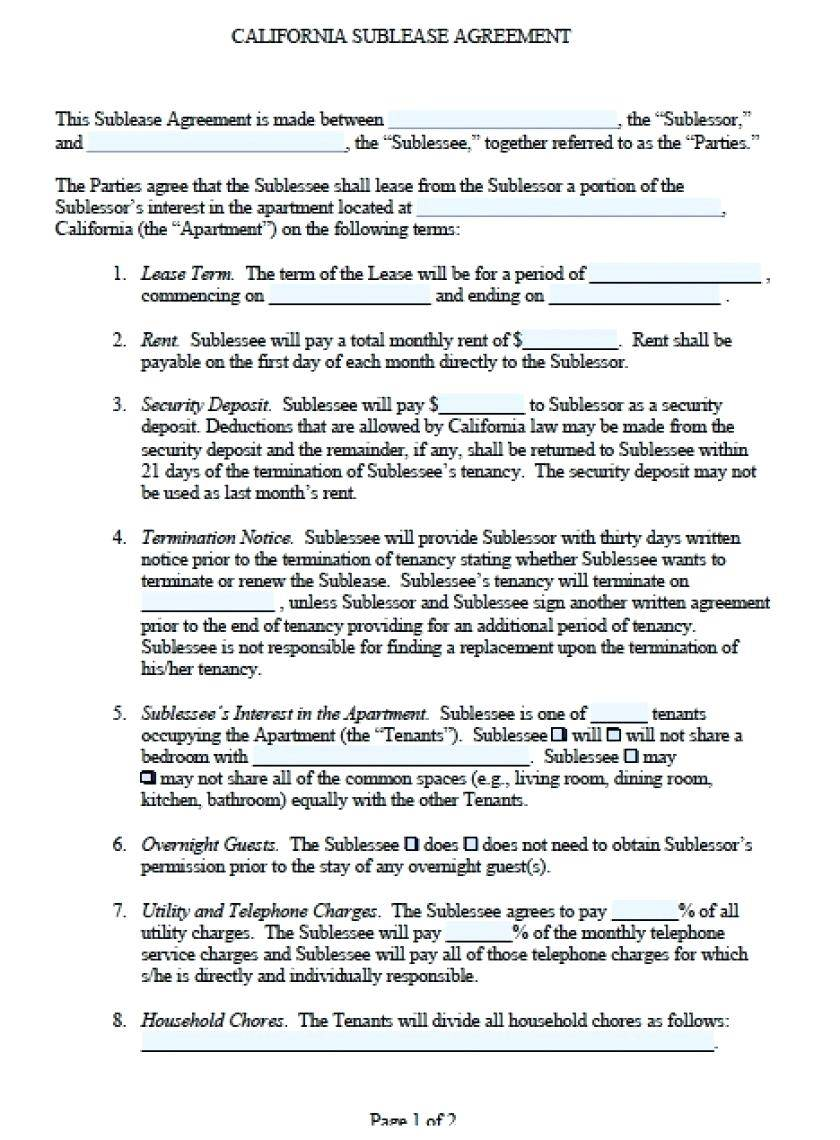 Sublet Contract Template Doc