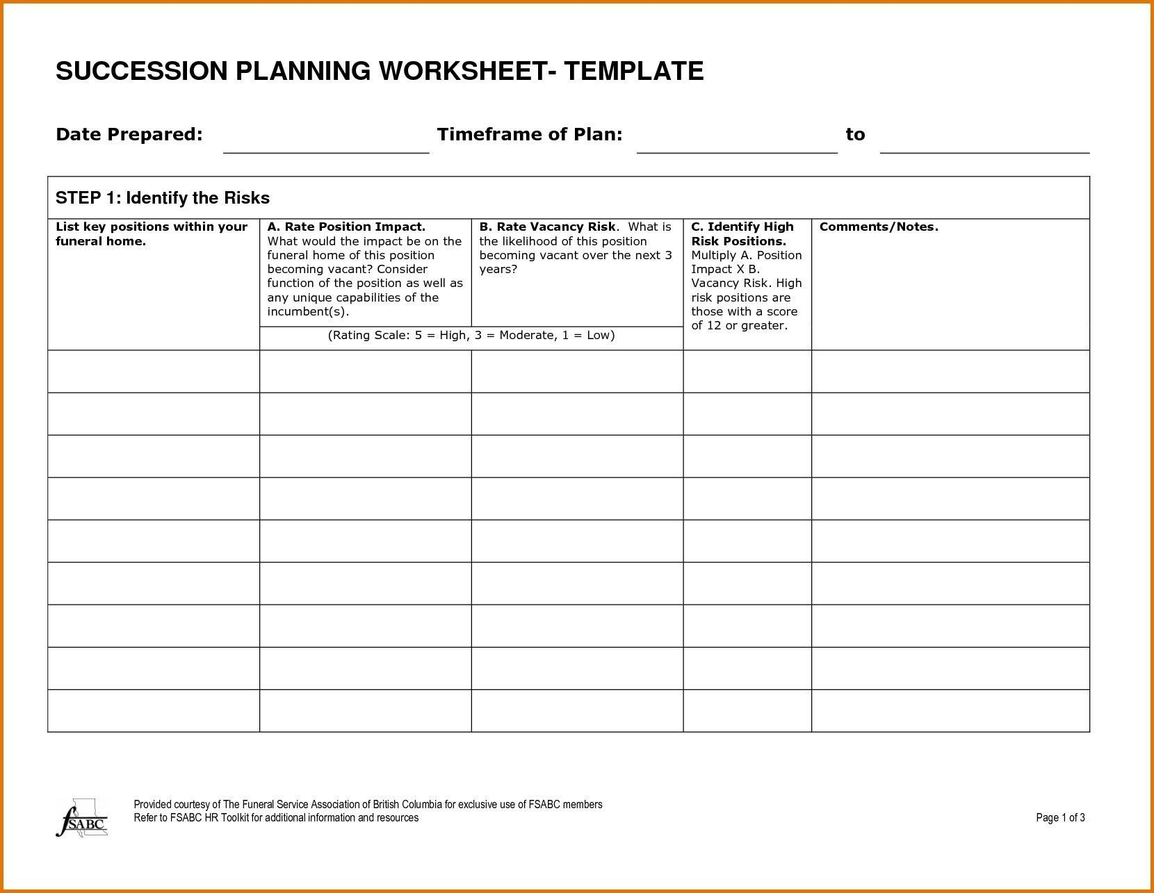 Succession Planning Template Family Business