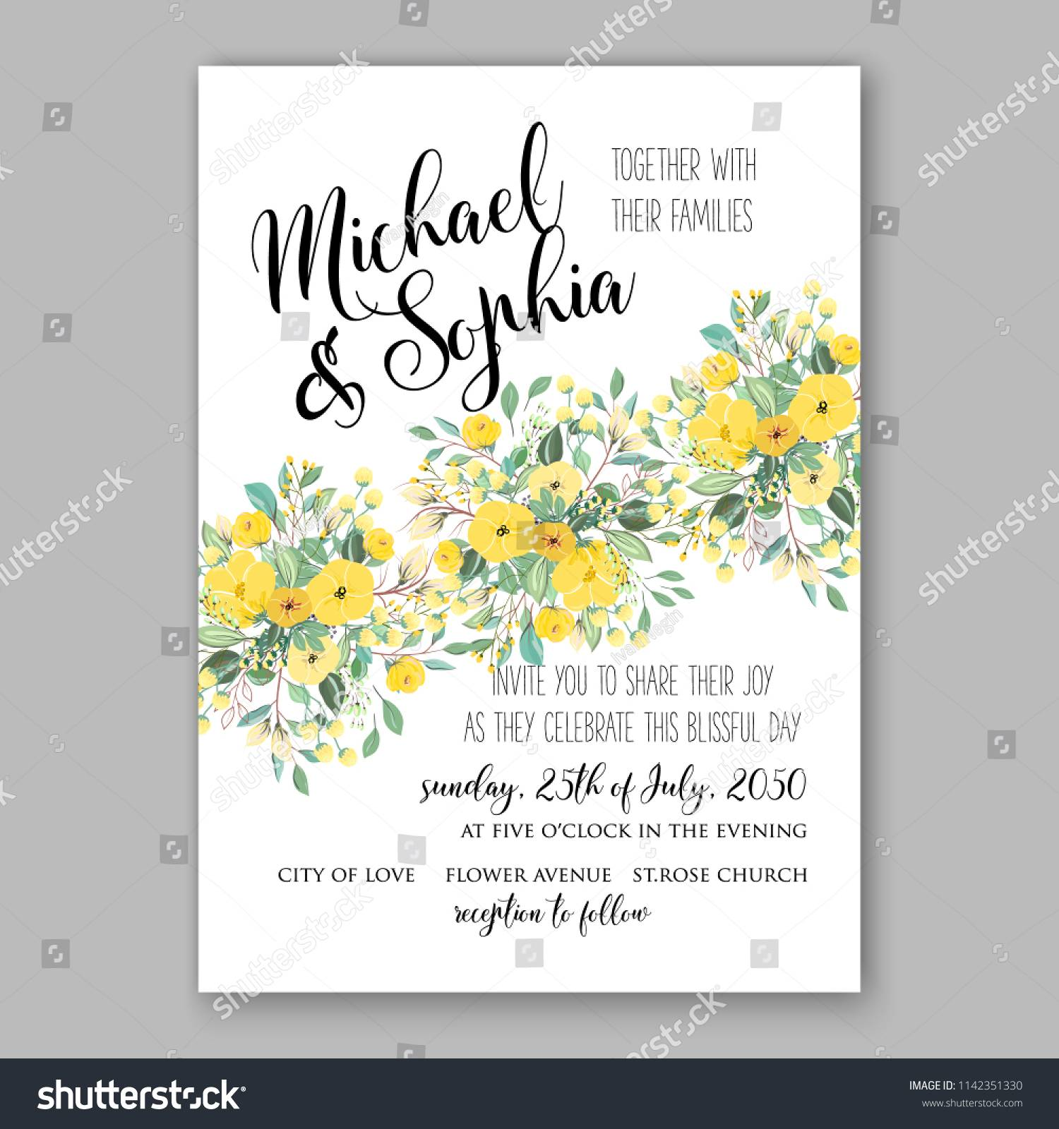 Sunflower Bridal Shower Invitation Templates