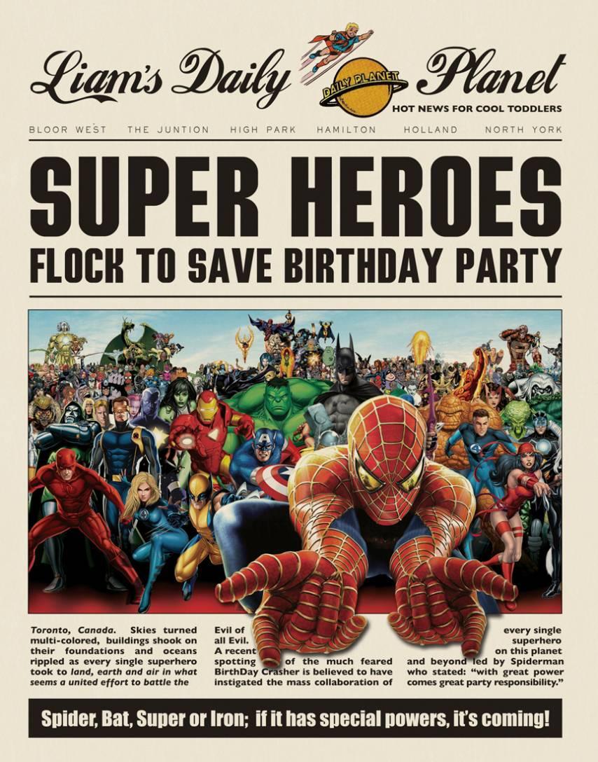 Superhero Newspaper Birthday Invitation Template