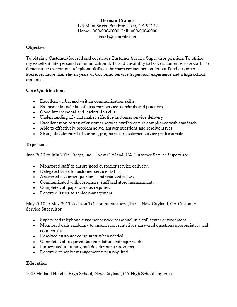 Supervisor Resume Template Free