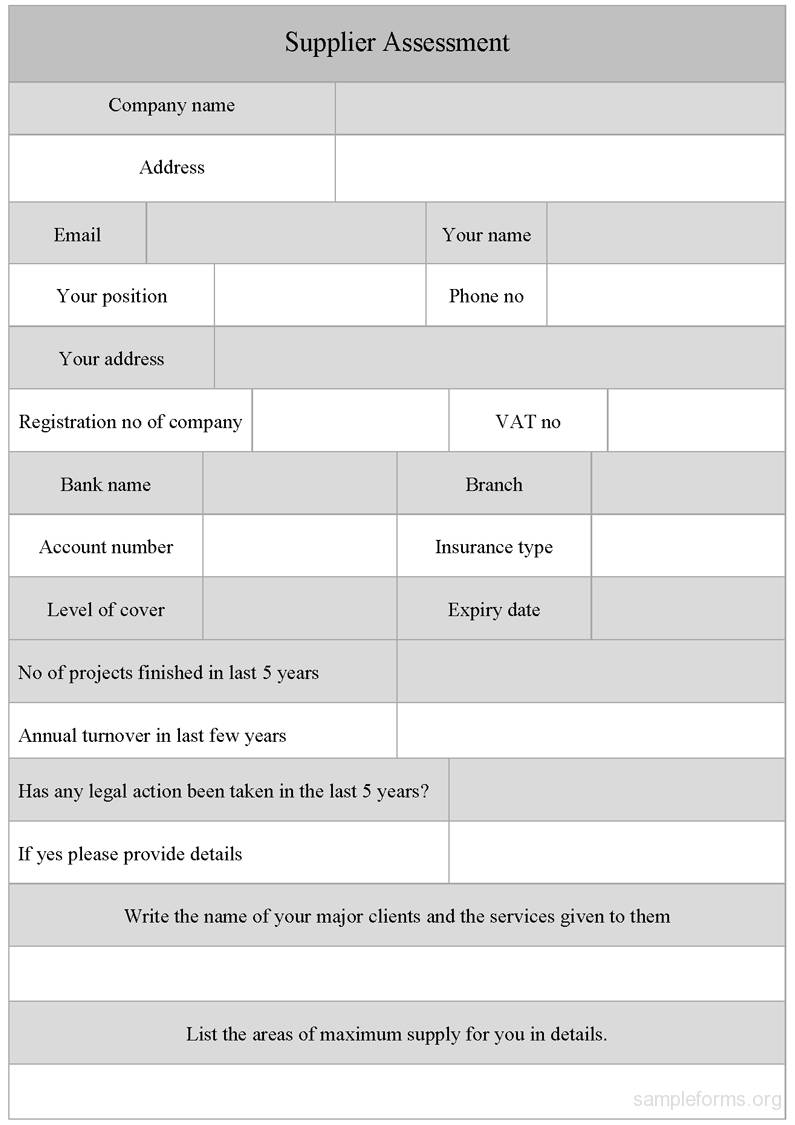 Supplier Assessment Form