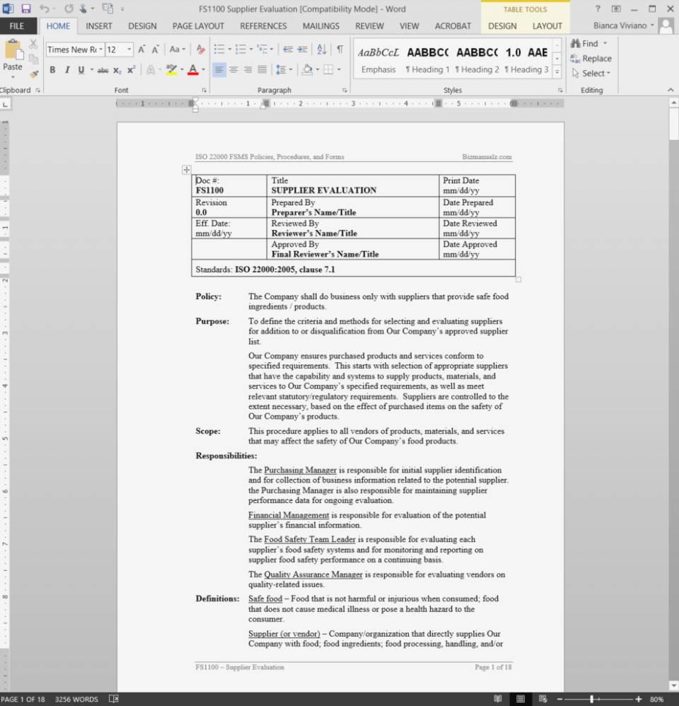 Supplier Assessment Questionnaire Template