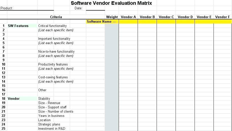 Supplier Evaluation Criteria Template