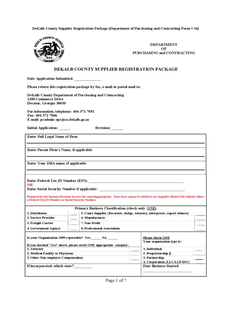 Supplier Registration Template