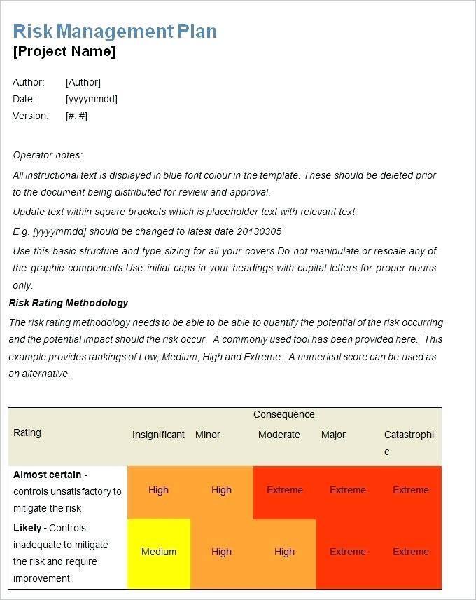 Supplier Risk Management Plan Template
