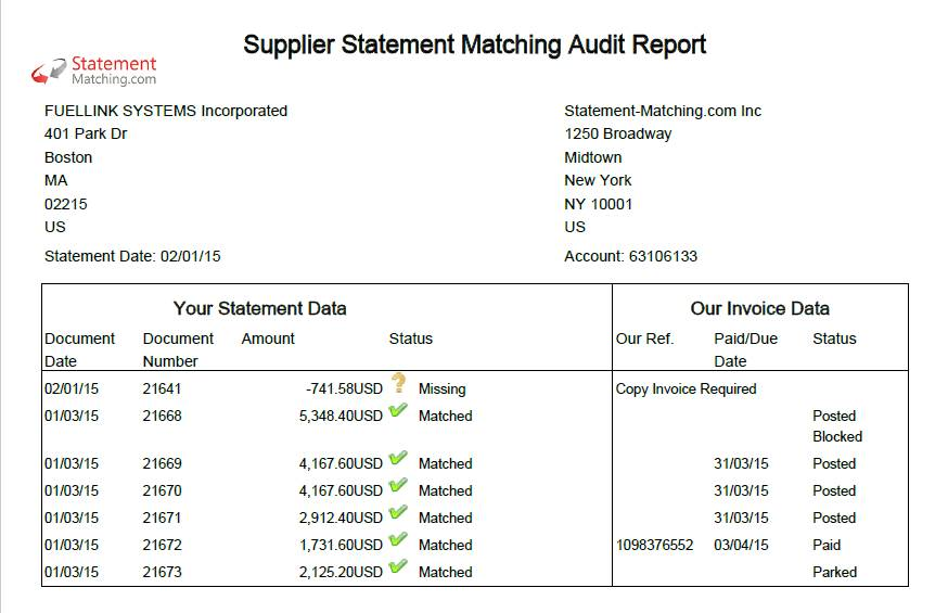 Supplier Statement Reconciliation Template