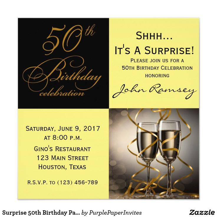 Surprise 50th Birthday Party Invitation Cards