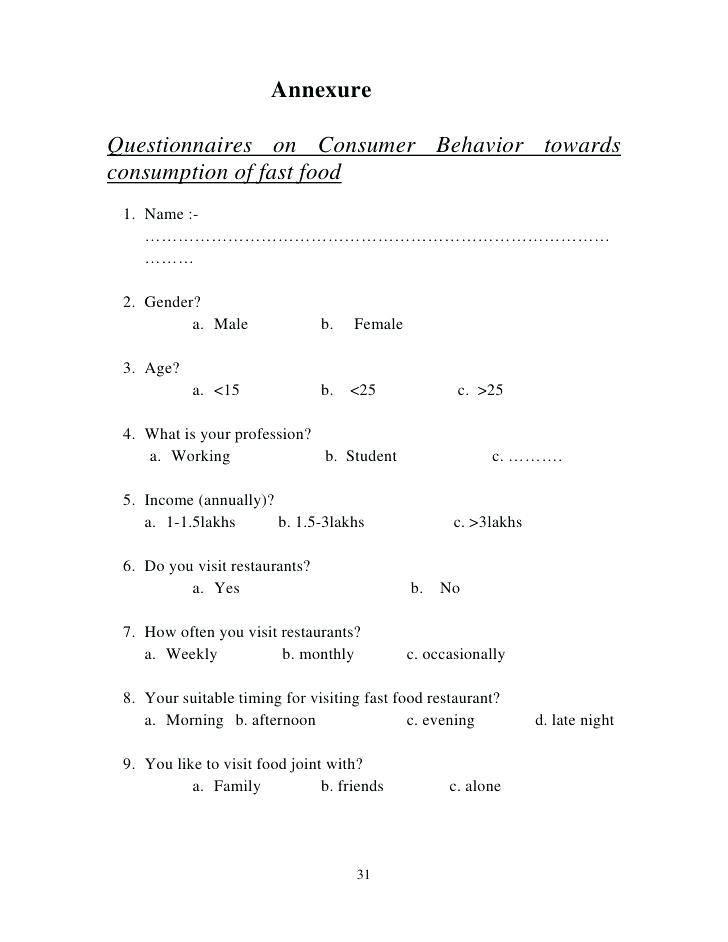 Survey Questionnaire Sample For Food