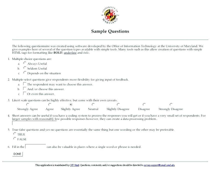Survey Questionnaire Sample For New Product
