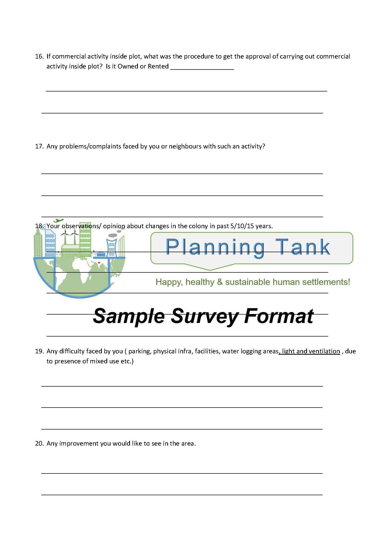 Survey Questionnaire Sample