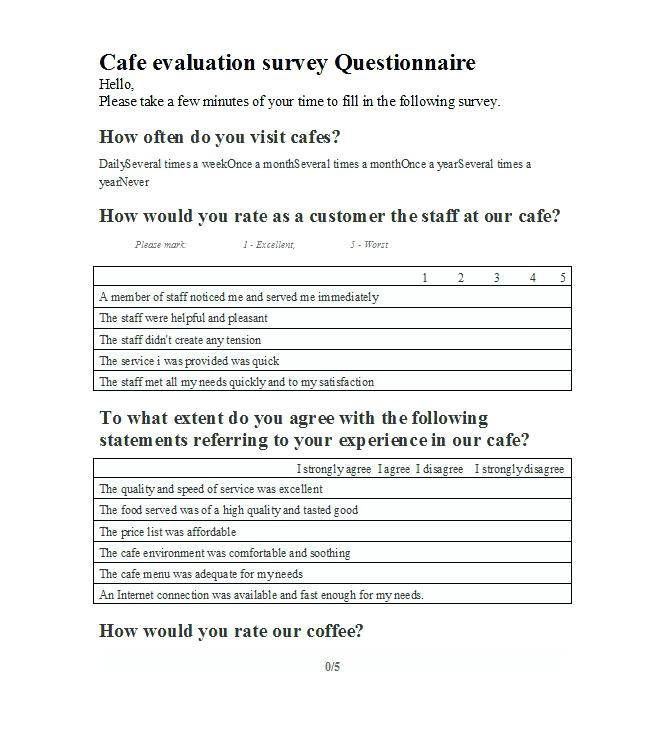 Survey Questionnaire Samples For Research