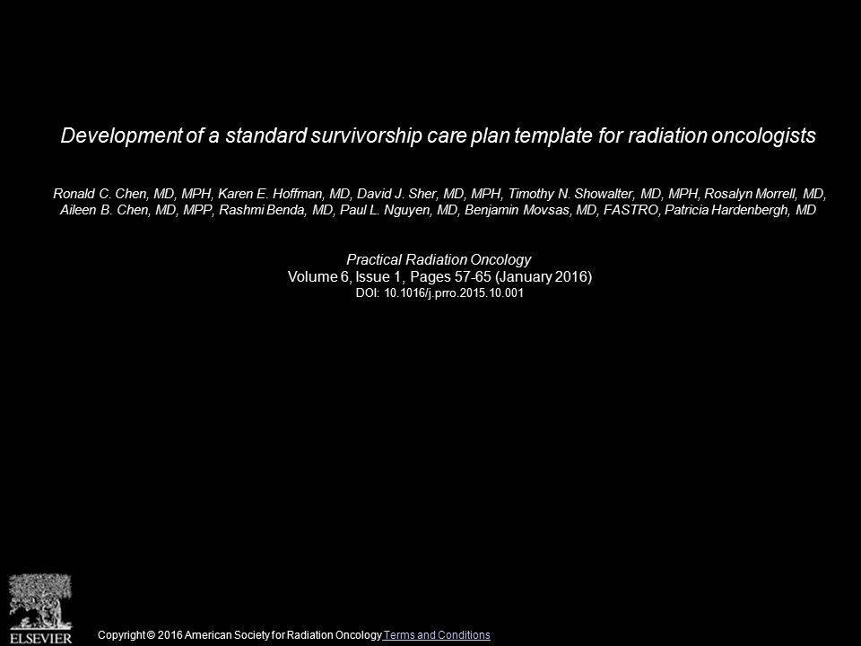 Survivorship Care Plan Template
