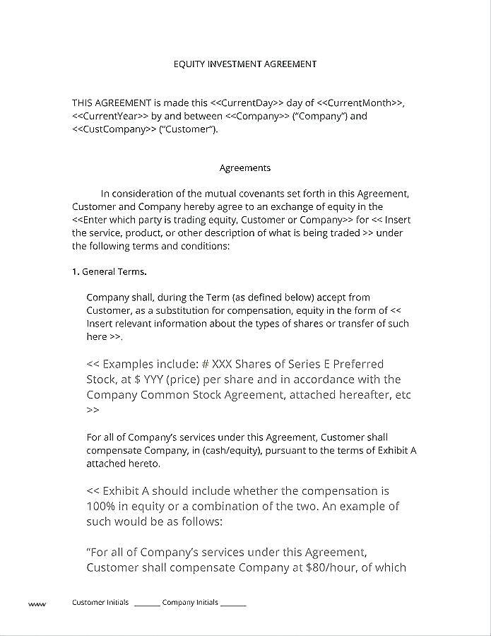 Sweat Equity Agreement Template Uk