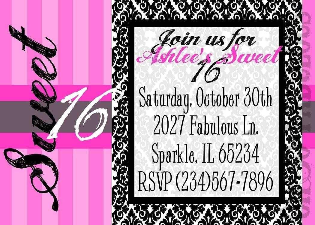 Sweet 16th Birthday Invitation Templates