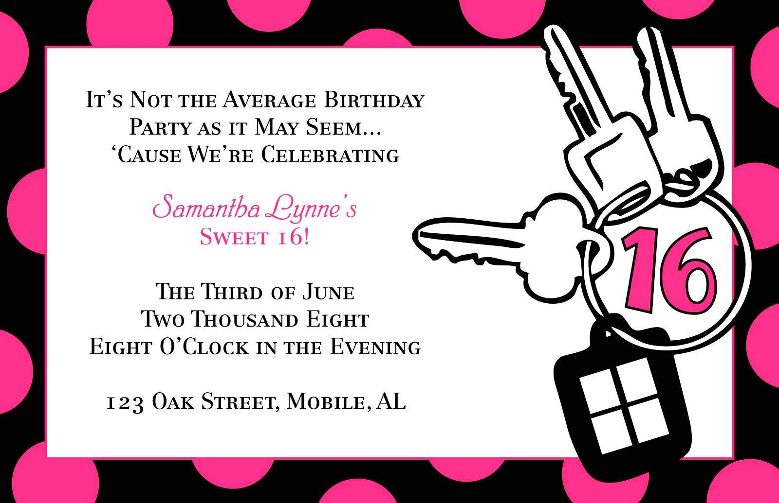Sweet Sixteen Birthday Invitation Templates