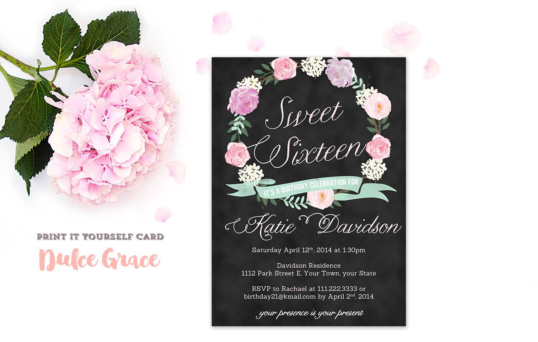 Sweet Sixteen Birthday Party Invitation Templates