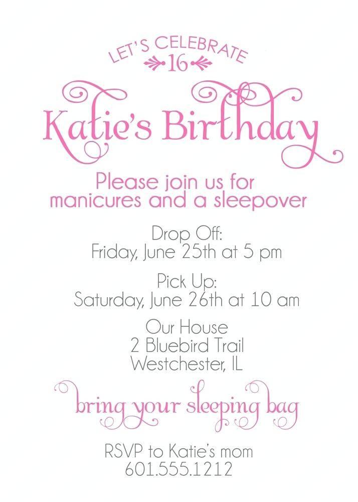 Sweet Sixteen Invitation Samples