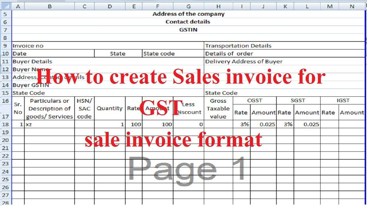 Tally Invoice Template Excel Download