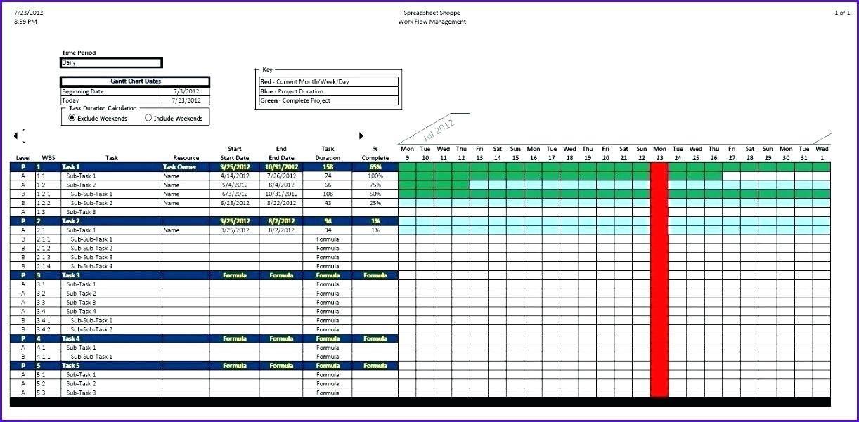 Task Scheduler Excel Template