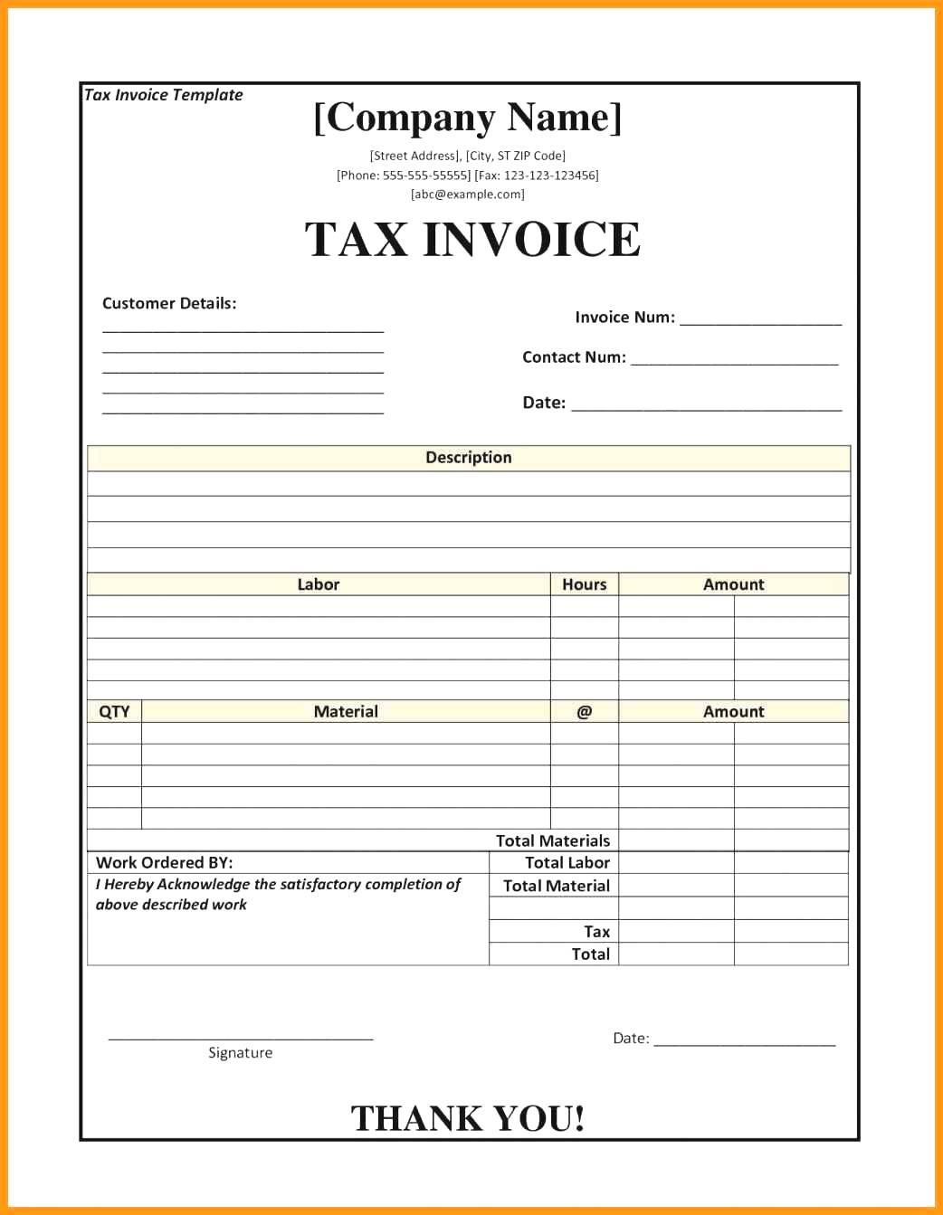 Tax Invoice And Receipt Template