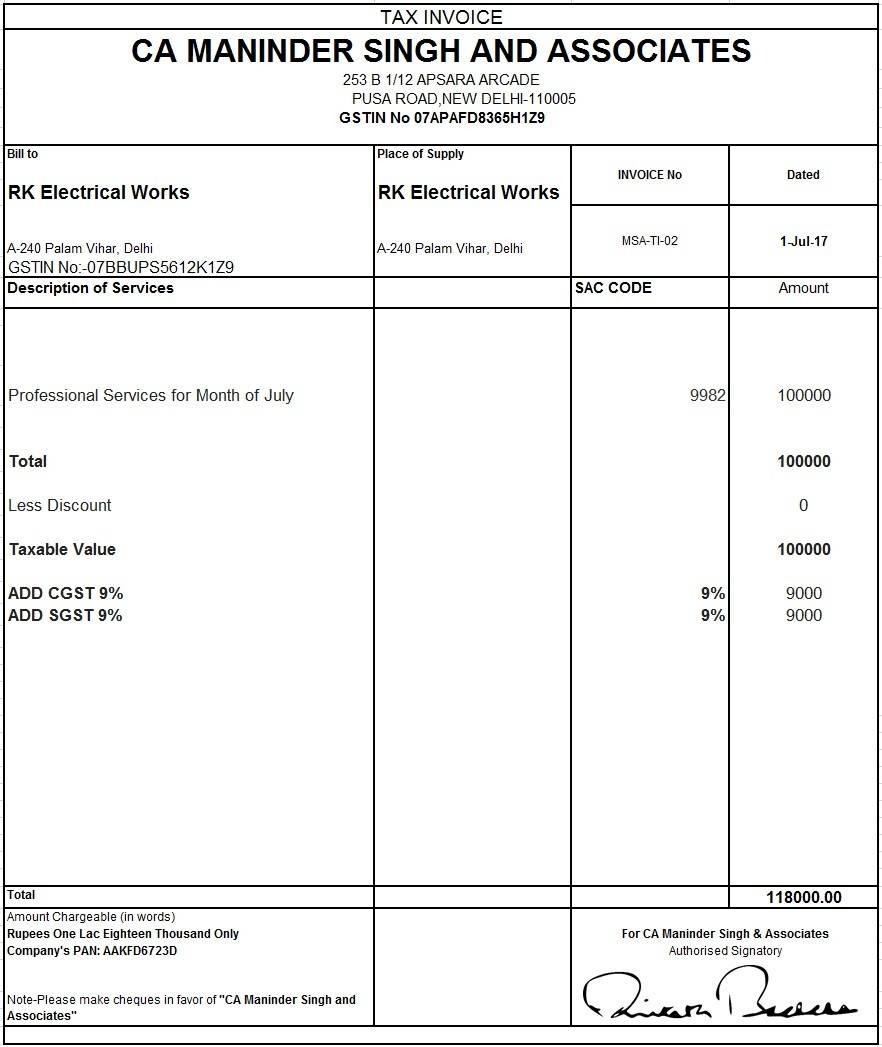 Tax Invoice Format Pdf Download