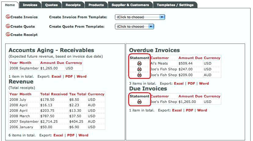 Tax Invoice Statement Template Free