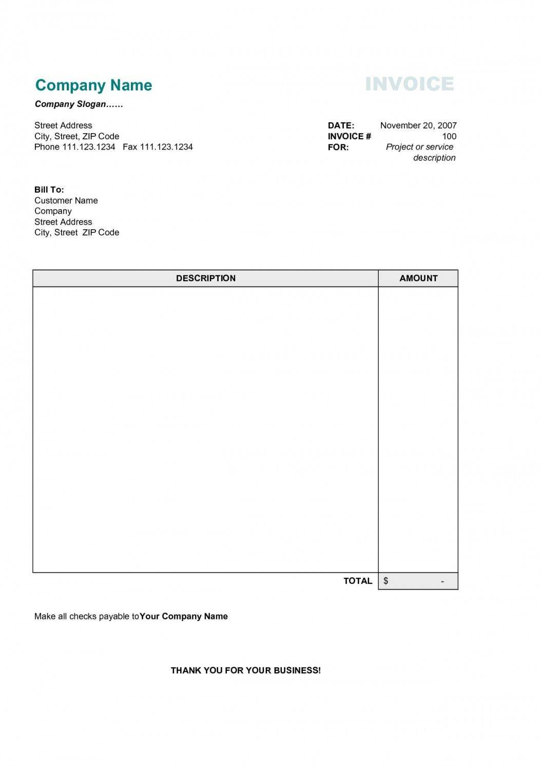 Tax Invoice Template Word Download