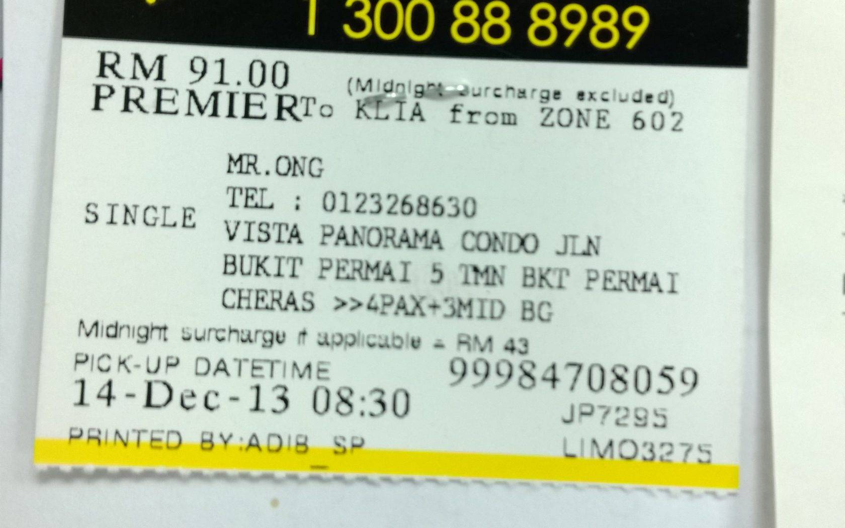 Taxi Receipt Template Malaysia
