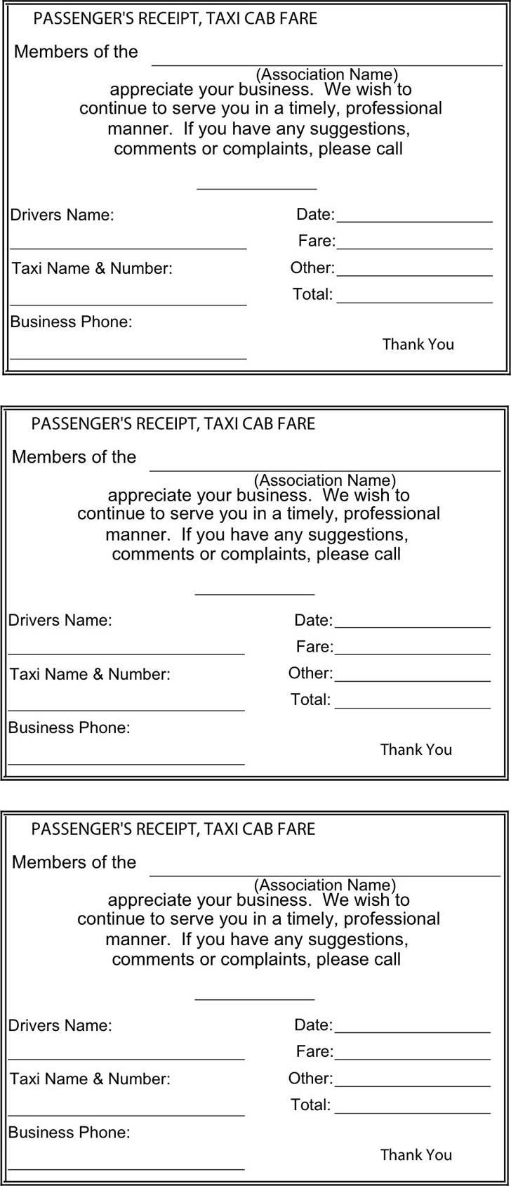 Taxi Receipt Template Toronto