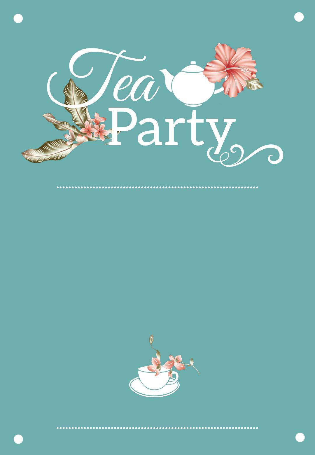 Tea Party Bridal Shower Invitation Template Free