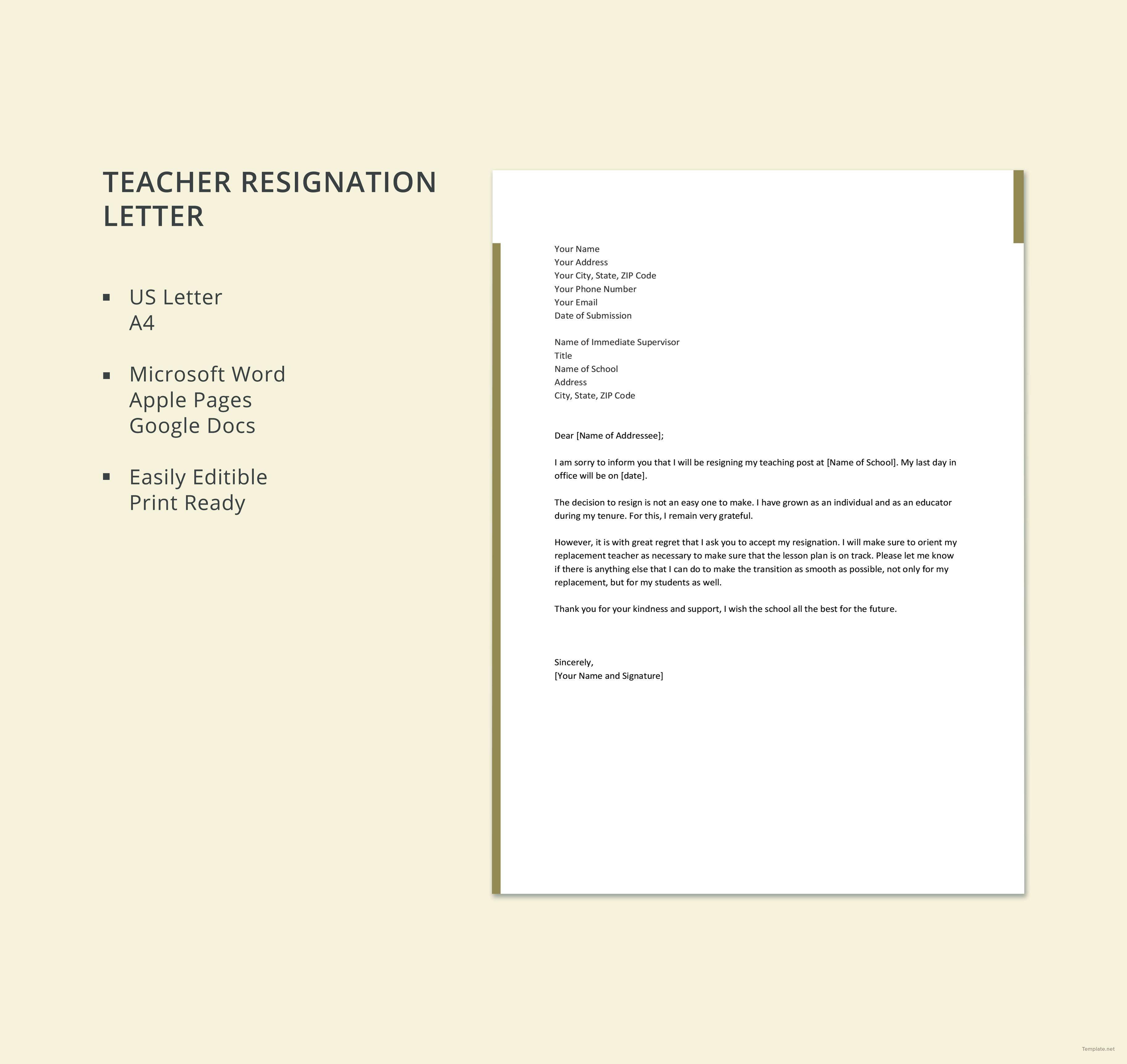 Teacher Resignation Letter Template Free