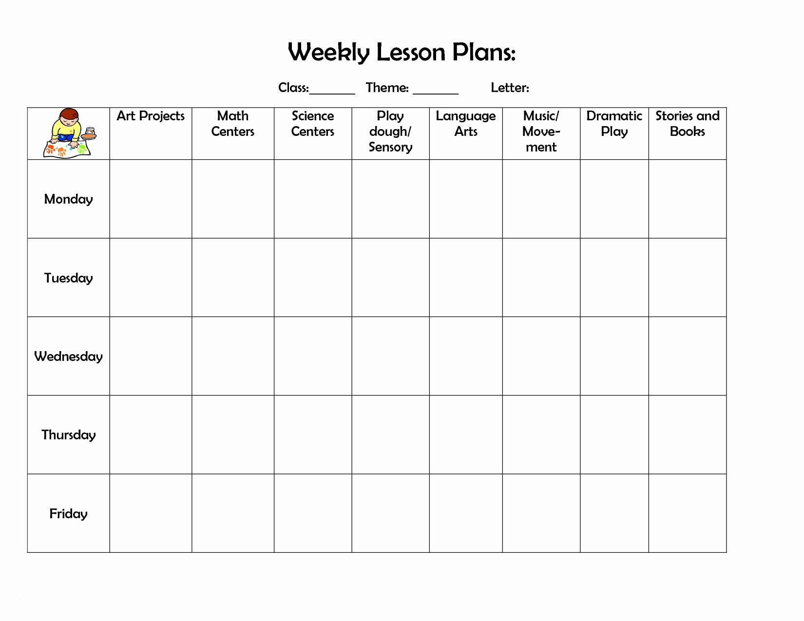 Teacher Weekly Lesson Planner Template