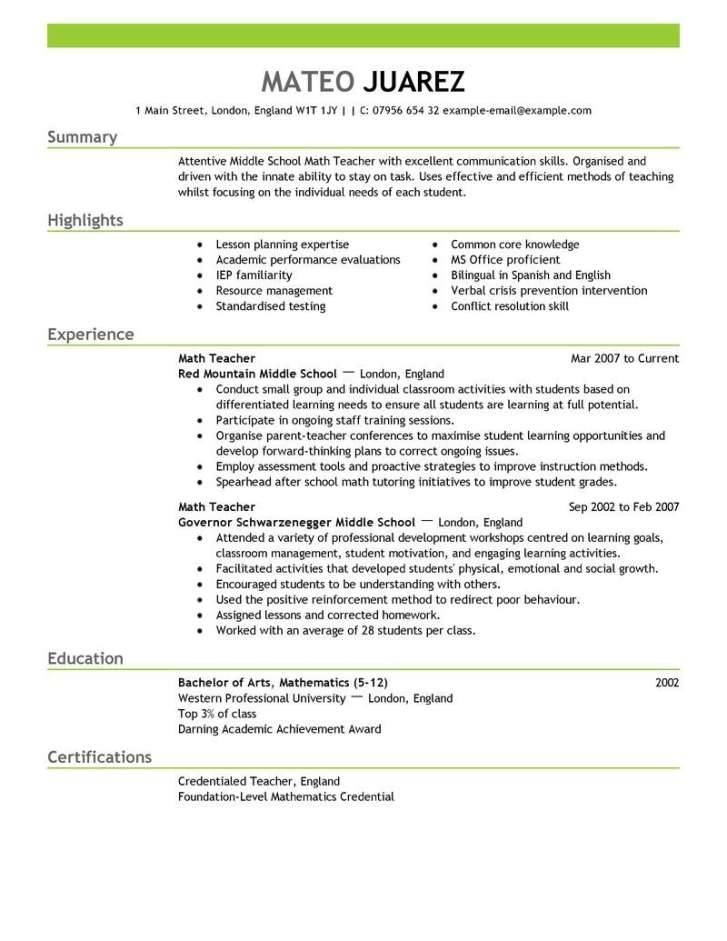 Teachers Cv Templates Free