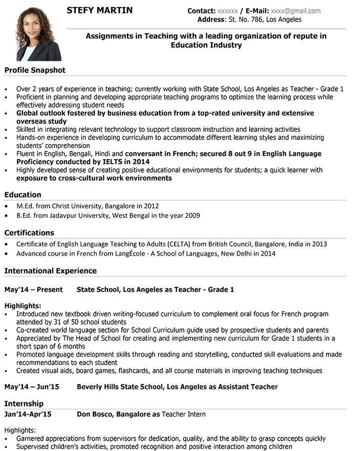 Teaching Resume Template Free Download