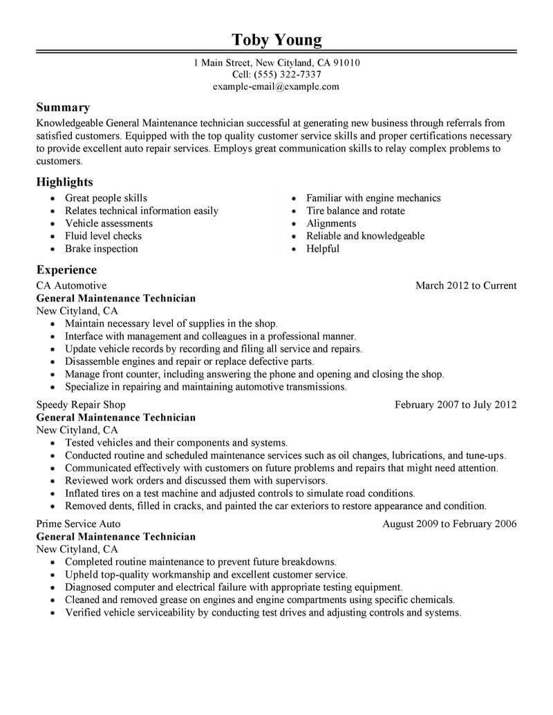 Technician Resume Template Word