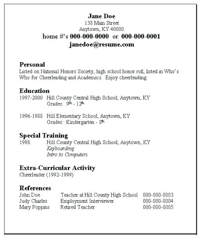Teenage Resume Template Download
