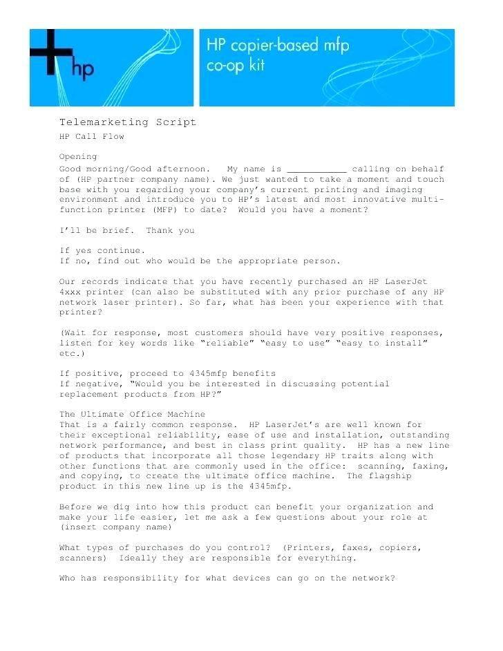 Telemarketing Script Template Free