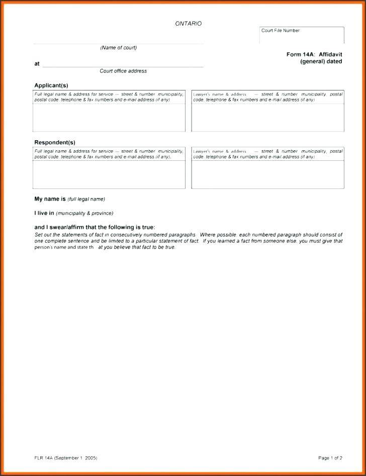 Template Affidavit Of Service