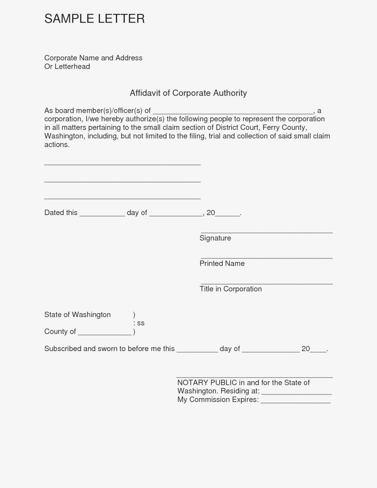 Template Affidavit Uk
