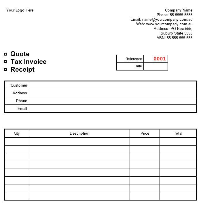 Template Cash Sales Receipt