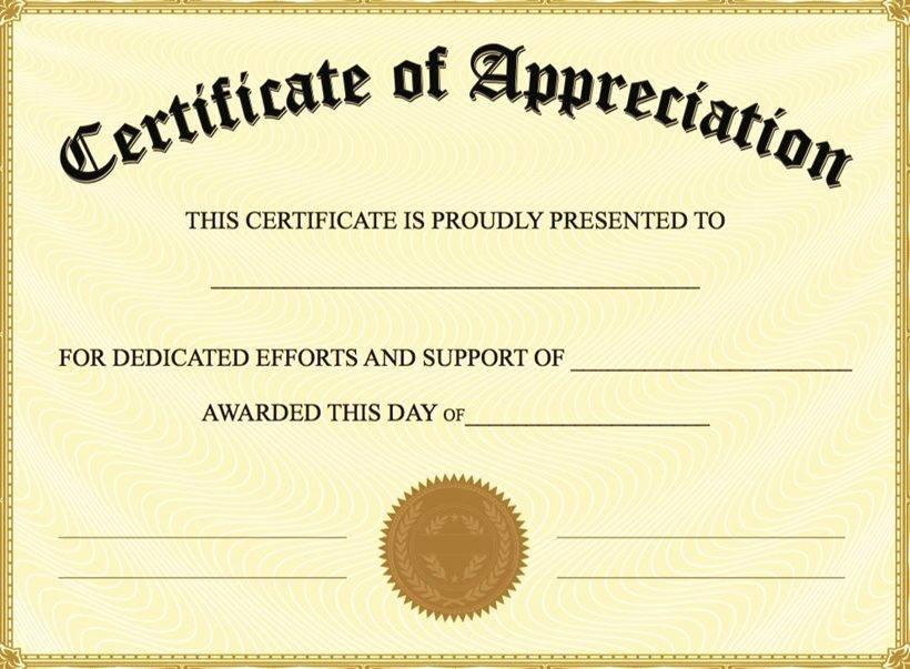 Template Certificate Of Appreciation Free