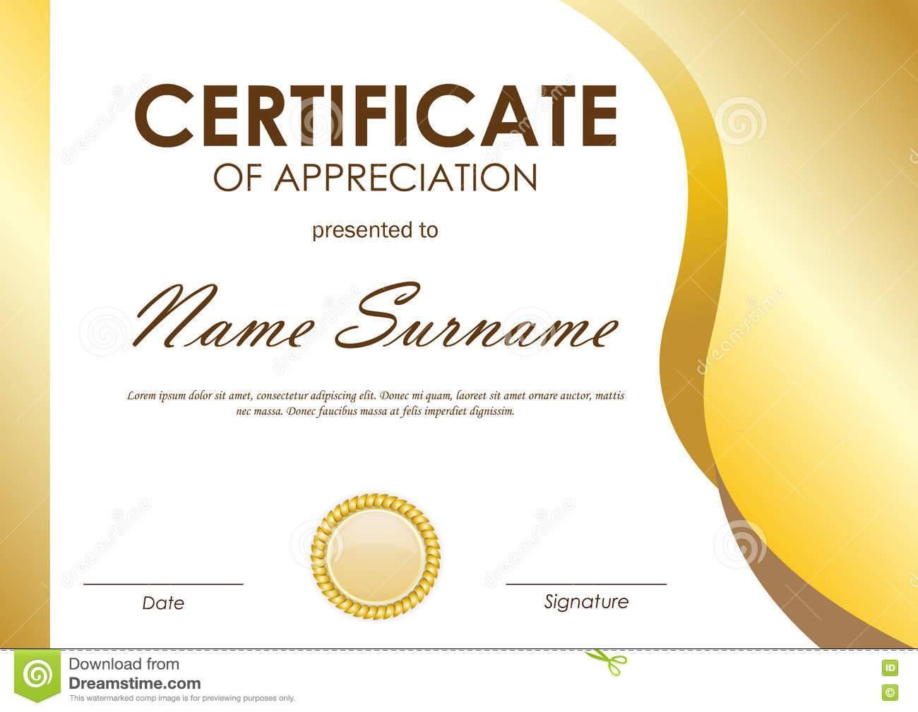 Template Certificate Of Appreciation