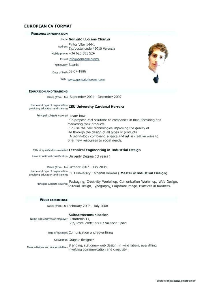 Template Curriculum Vitae Download