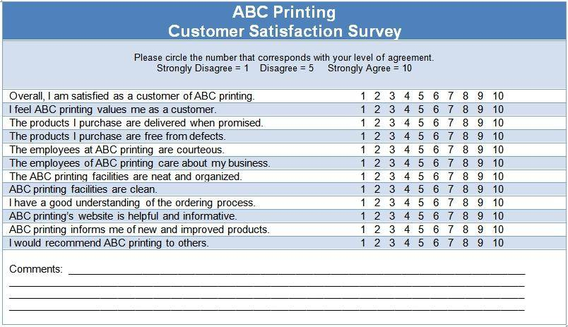 Template Customer Satisfaction Survey Questions
